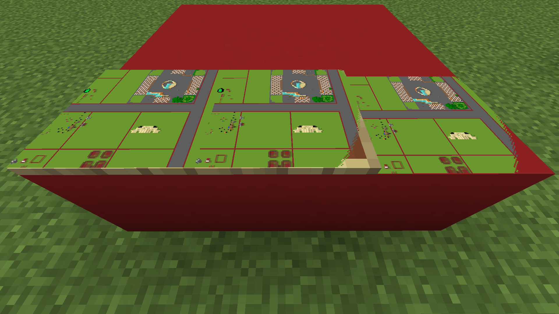 Three Minecraft maps next to each other with one having a frame and no transparent pixels at all, another one having a frame and transparent pixels (that show the underlying frame) and the third one without a frame and invisible pixels that allow to look on the underlying block.
